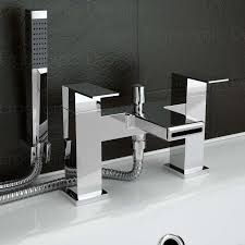 chrome waterfall cascade deck mounted bath filler mixer tap with ergonomic designs logo