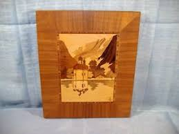 german marquetry wood inlay picture landscape dome church