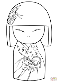 kimmi doll with butterfly ornament coloring page free printable