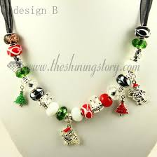 bead necklace charms images Silver charms necklaces with rhinestone murano glass beads wholesale jpg