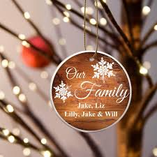 personalized our family ceramic christmas ornament