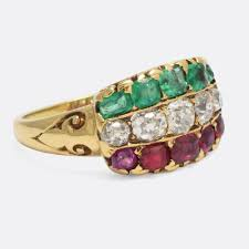 tricolor ring ruby diamond emerald tricolor ring butter antiques
