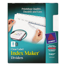 print u0026 apply clear label dividers w white tabs by avery ave11437
