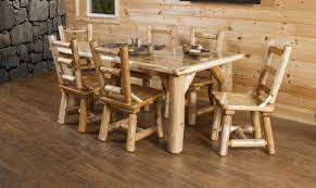 table white cedar log dining table set with 6 chairs amazing log