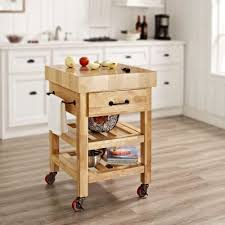 furniture black wooden butcher block cart with 2 drawers and