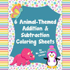 cute critters coloring sheets addition subtraction practice