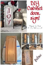 kitchen cabinet door diy christmas joy sign made from a old kitchen cabinet door done