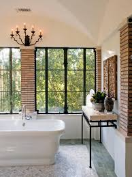 Neutral Bathroom Ideas Photos Hgtv Neutral Bathroom With White Slipper Tub And Brick