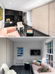 this small modern apartment has a wall of hidden uses modern