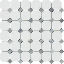 thassos white honed marble octagon mosaic tile w blue gray dots