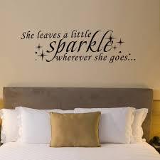 Bedroom Wall Art Words She Leaves A Little Sparkle Wherever She Goes Vinyl Inspirational