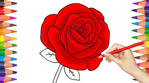 how to draw a rose coloring book pages video for kids youtube