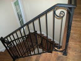metal landing banister and railing nice staircase railing designs in stair and basement nyc bracket