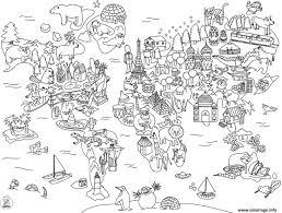 coloriage xxl carte du monde en dessin anime dessin