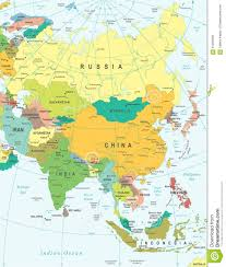 Grid Map Asia Map Illustration Colored And Grid Stock Vector Image