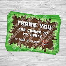 minecraft cards minecraft printable thank you cards minecraft birthday party