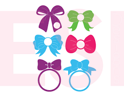 bow monogram bow designs with circle for a monogram svg dxf eps cutting