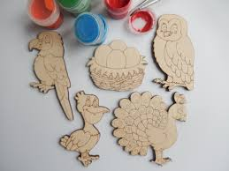 5 laser cut wood shapes for coloring owl parrot peacock
