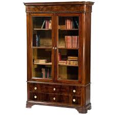 Antique White Bookcases Bookcase Furniture Cherry Wood Book Cabinet With Glassdoor And