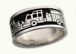 the story wedding band firefighter story band shown with black antiquing custom