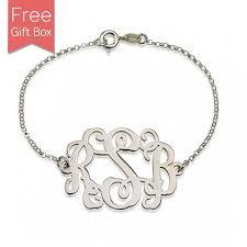 silver monogram bracelet sterling silver monogram bracelet rsnamenecklace