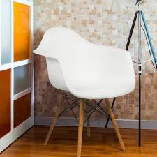 eames style armchair mid century modern molded plastic shell arm
