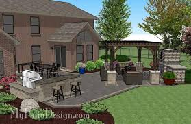 Rear Patio Designs Courtyard Paver Patio Design With Pergola Fireplace