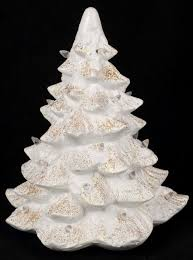 porcelain christmas tree with lights vtg trim a home mold porcelain white gold glitter christmas tree