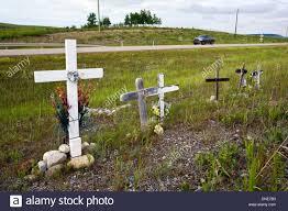 memorial crosses for roadside roadside memorial crosses near cochrane alberta canada stock