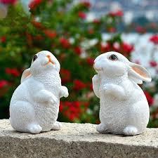 white rabbit garden statue garden ornaments resin white rabbit