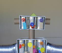 life sized magnetic robot recycled materials magnets and kid