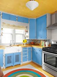 blue and yellow kitchen ideas compact kitchen design ideas with blue cabinets and yellow ceiling