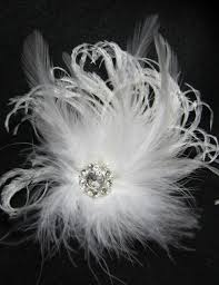 feather hair accessories white ostrich feather hair clip and pin
