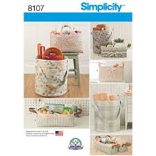 Sewing Patterns Home Decor Pattern 8107 Bucket Basket And Tote Organizers