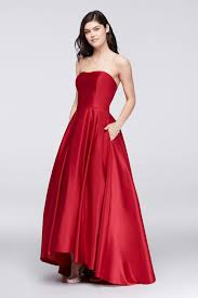 betsy and adam a18224 style betsy adam fashion high low a line satin gown