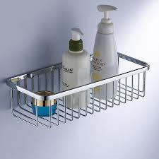 chromed metal floating shelf for bathroom of splendid stainless