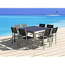 Resin Patio Table And Chairs Amazon Com Outdoor Patio Furniture New Aluminum Resin 9 Piece