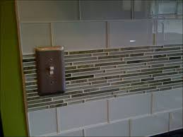 kitchen light blue backsplash tile grey glass subway tile gray