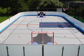 outdoor bounce back on an home inline hockey rink and multi court
