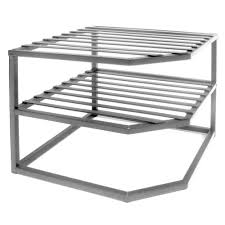 seville classics 2 shelf iron corner kitchen cabinet organizer