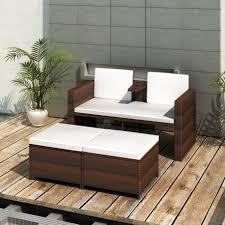 canapé rotin pas cher canapé de 2 places et 2 repose pieds bruns pas cher en promo