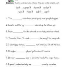 contractions nt worksheet