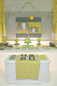 yellow and gray baby shower decorations yellow and gray baby shower ideas green tiered cake paper banner