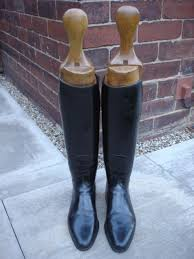 boot trees uk pair vintage leather boots wooden trees 157282