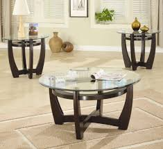 Glass Modern Coffee Table Sets Cappuccino Finish Base Glass Top Modern 3pc Coffee Table Set