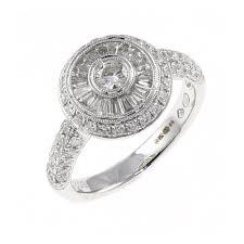 18ct white gold 1 20ct circular art deco style diamond ring