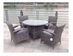 Outdoor Rattan Garden Furniture by Paradise 4 Seater Round Grey Rattan Garden Furniture Dining Set