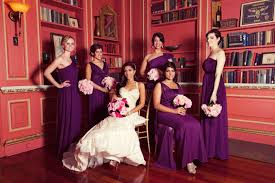 hues of purple purple bridesmaid dresses inside weddings