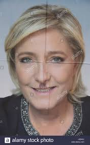 Marine Le Pen Poster Of Right Wing Politician Marine Le Pen In Normandy Stock