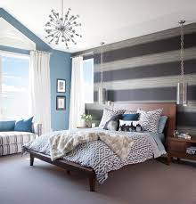 wonderful bedroom wall design with summer house ideas and modern stripe patterned wall bedroom decoration with wooden bedding set with unique chandelier with stripe pattern sofa